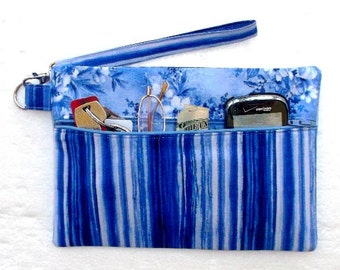Cell Phone Wallet, Blue White Striped Wristlet, Floral Clutch, Small Zippered Purse, Womens Wallet, Camera Bag, Makeup or Gadget Holder