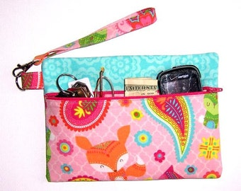 Pink Fox Print Wristlet, Turquoise Clutch, Paisley Floral Wallet, Small Zip Purse, Makeup or Phone Wristlet, Zippered Camera or Gadget Bag