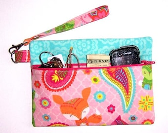 Pink Fox Print Wristlet, Turquoise Clutch, Paisley Floral Wallet, Small Girls Purse, Makeup or Phone Wristlet, Zippered Camera or Gadget Bag