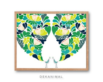 Floral Peacocks Wedding Art Print - SPRING - Bird Art Print, Peacock Feathers, Peacock Illustration, Peacock Decor, Flower Art, Floral Print