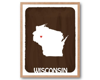 Wisconsin - Chocolate Brown - Personalized Custom Color Watercolor Style Love Wedding Birthday Anniversary GIft Children Kids poster