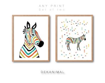 ANY PRINT Set of 2, Zebra Head Print Set, Animal Print, Zebra illustration, Woodland animal print, Kids room decor, Nursery decor