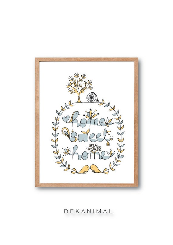 Home Sweet Home Art Print - Bird art print, typography print, Animal illustration, Children room art, decorative arts, Home decor, Wall Art