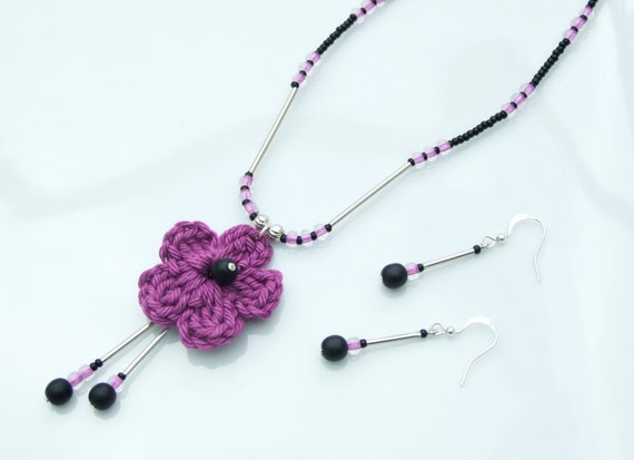 SET - True Purple Crochet Flower Multi-Pendant Necklace and Earrings Festival