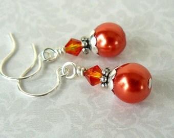 Orange Earrings, Bright Orange Pearl and Crystal Earrings, Swarovski Elements Fire Opal Crystal, Tangerine Dangles, Bright Summer Jewelry