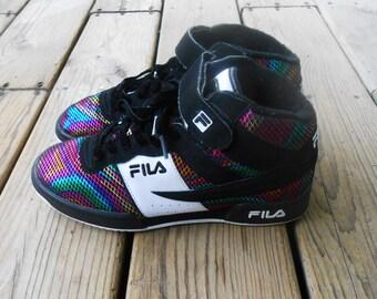 Vtg Hella 90s Fila Psychedelic Rainbow Grunge Rave Trance Digital Cyber Kawaii Seapunk Harajuku Club Kid Sneakers Tennis Canvas Shoes 7 6.5