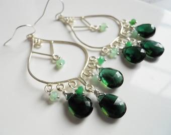 Christmas gemstone Chandelier earrings , tourmaline green quartz earrings, chrysoprase, sterling silver, style: meadow