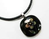 Black Flower Pendant Copper Flower on Black Pendant Dichroic Fused Glass with Leather Cord Necklace (option)