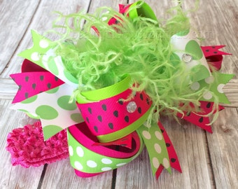 Watermelon Over the Top Bow,Pink and Green Hairbow,Pink Green Baby Headband,Baby Bow Watermelon,Green Pink Big Bow,1st Birthday Bow