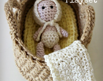 Download Now - CROCHET PATTERN Bassinet Baby Playset - Pattern PDF