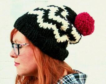 Knit Chevron Fair Isle Sweater Pattern Pom Pom Beanie Hat - Black, Cream, and Raspberry