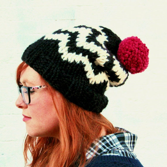 Knit Chevron Fair Isle Sweater Pattern Pom Pom Beanie Hat - Black, Cream, and Raspberry