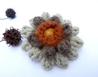 Crochet flower barrette, unique fiber art hair clip in natural tones, floral, romantic, hand stitched