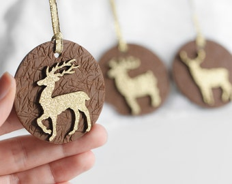Deer, Moose, Reindeer Chalkboard Gift Tags. Eco Friendly Reusable as Ornaments. Gold Glitter Christmas Holiday Gifts in Brown Clay. Set of 3