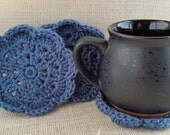 Crochet Coasters | Country Blue Flower Shaped Coasters Set of 4 | Books and Coffee Eco Friendly Stocking Stuffer Housewarming Gift