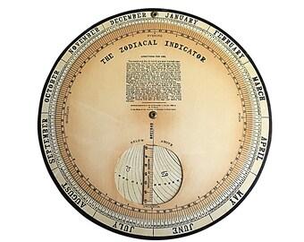 19th Century Zodiacal Indicator Circular Calendar by Esoteric Publishing Hiram E Butler, Vintage Astrology