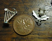 2 Scottish Charms, Thistle & Celtic Harp, Vintage Sterling Silver, TWO for ONE! Charm Bracelet  xlnt condition