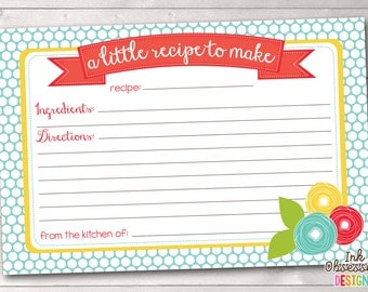 Floral Printable Recipe Card PDF Instant Download with Flower Doodles and Polka Dots in Blue Red & Yellow