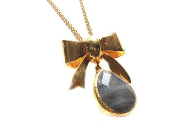 30% Fall Sale Bow with a Labradorite Drop Stone Earring