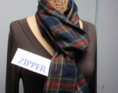 Secret Agent Scarf Infinity Design with Zipper Pocket Paid Flannel Red Blue Green