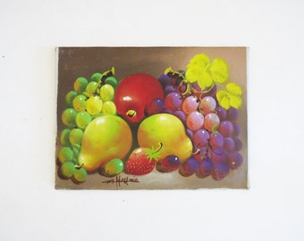 1970's Fruit Still Life Painting // Signed Vintage Oil on Canvas Painting // Vintage Home Decor