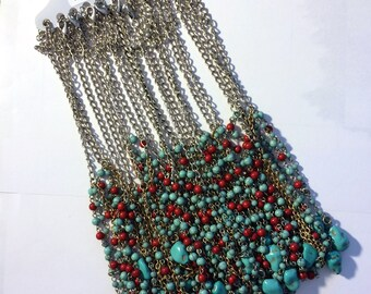 CHAINS- N478 11 Silver-tone 18 inch Fancy Finished Fashion Necklace Chains Acrylic Coral and Turquoise