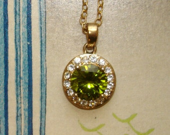 vintage faux diamonds and pale green gemstone pendant gold necklace