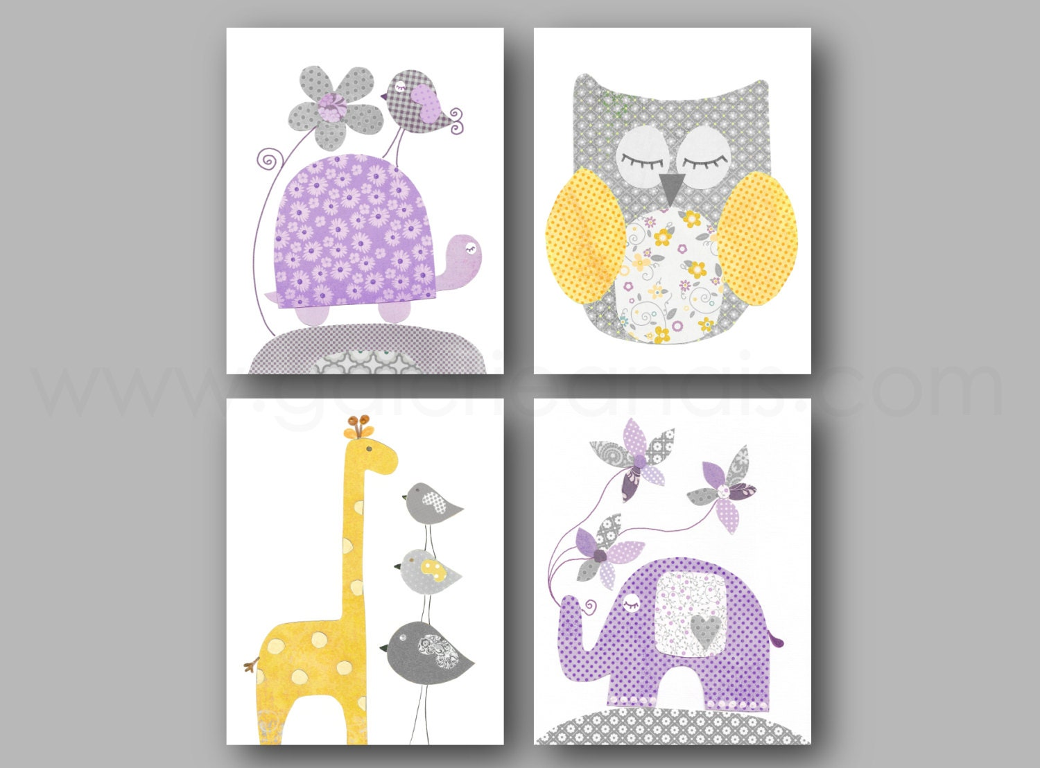 purple yellow and gray nursery decor baby girl by galerieanais. Black Bedroom Furniture Sets. Home Design Ideas