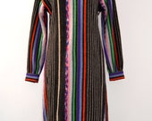 Incredible Knitted Jumper Dress In  Pattern and  colors like traditional Mexican textiles. Sweater Dress