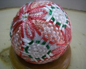 Mini hand made Temari(pink, white)