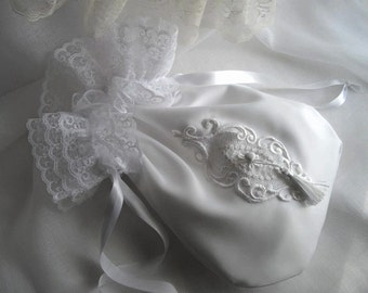 White Bridal Drawstring Money Bag Satin Lace Applique Money Gifts Handmade by handcraftusa
