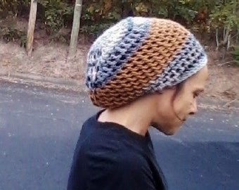SLOUCH HAT or Tam Natural Handmade Crochet Hat Rasta Hat WOOL Hat Slouchy Hat Dread Hat *Blue CReaM with Tan *