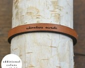 adventure awaits - adjustable leather bracelet  (additional colors available)