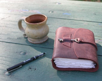 Wine colored Leather Diary with Skeleton Key Closure by Binding Bee