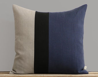 Navy Blue, Black and Natural Linen Colorblock Pillow Cover (20x20) by JillianReneDecor, Modern Home Decor, Indigo, Stripes, Spring 2017