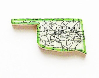 Oklahoma Brooch Pin / Unique Wearable History Gift Idea / Upcycled Antique 1915 Wood Puzzle Piece / Timeless Gift Under 50