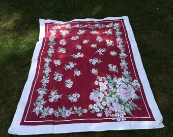 Vintage floral Startex tablecloth burgundy with pink flowers, Kitchen and Dining, Table linens, vintage tablecloth, flowered Linens, 1950s