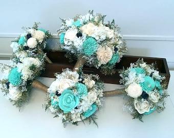 Teal, Aqua, mint, Navy Wedding Bouquet - sola flowers - Customize colors - bridal bouquet - Alternative bouquet - bridesmaids bouquet