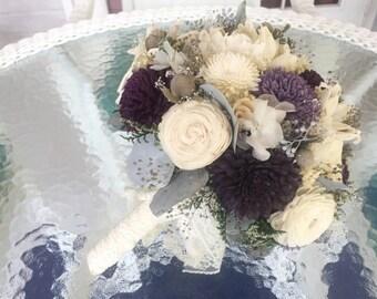 Plum, Lavender and Purple Wedding Bouquet -sola flowers - Customize -bridal bouquet - Alternative bouquet - bridesmaids bouquet -rustic
