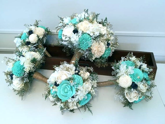 teal aqua mint navy wedding bouquet sola flowers. Black Bedroom Furniture Sets. Home Design Ideas