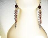 Root Beer Brown Earrings, Long Earrings, Shoulder Dusters, Brown Earrings, Mixed Metals, Rocker Jewelry, Edgy Earrings, Handmade