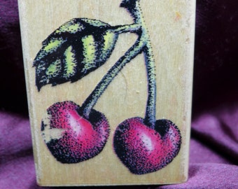 Double Cherries Cherry Rubber Stamp