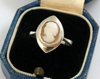Vintage Cameo Ring, Art Deco, Gold on Silver, Shell Cameo, US Size 6.5, UK Size M 1/2, Sterling Silver, Antique Cameo Ring