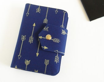 Passport Wallet , Travel Wallet, Passport Holder for Two Passports in Gold Arrows- Ready To Ship