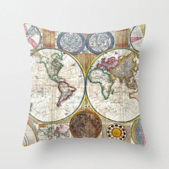 Old World Map Throw Pillow, Vintage Map Outdoor Pillow, World Map Patio Decorative Pillow, Antique,Office Pillow,Elegant Decor, Office Decor