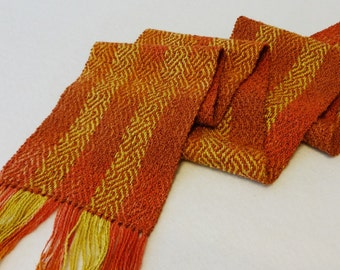 Hand Woven Scarf - Hand-dyed Scarf - Woven Scarf - Dark Coral Sea