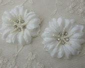 2 pc Handmade IVORY Jasmine flower applique w rhinestone pearl for Hat Bridal Wedding Corsage Hair clip