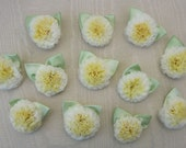 12 pc Yellow Shabby Chic Boutique Carnation Flower Applique w Satin Green Leaves Baby Bow Doll Embellishment
