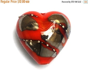 ON SALE 30% OFF Electric Orange Metallic Heart Focal Bead - Handmade Glass Lampwork Bead 11819505
