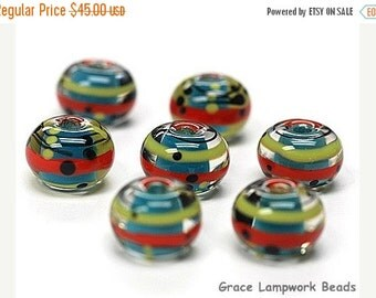 ON SALE 30% OFF Seven Scarlet Stripes Rondelle Beads -11008101-Handmade Glass Lampwork Bead
